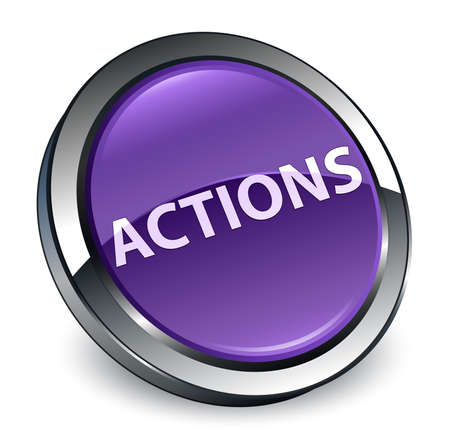 Actions isolated on 3d purple round button abstract illustration