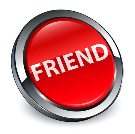 Friend isolated on 3d red round button abstract illustration Stock Photo
