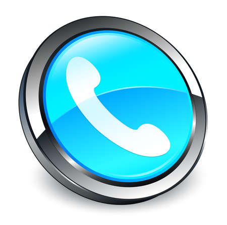 Phone icon isolated on 3d cyan blue round button abstract illustration