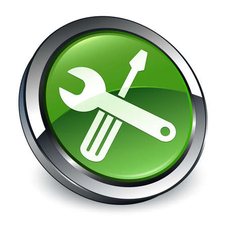 Tools icon isolated on 3d soft green round button abstract illustration