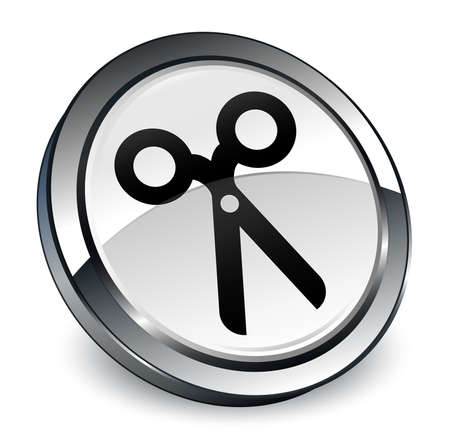 Scissors icon isolated on 3d white round button abstract illustration Stock Photo