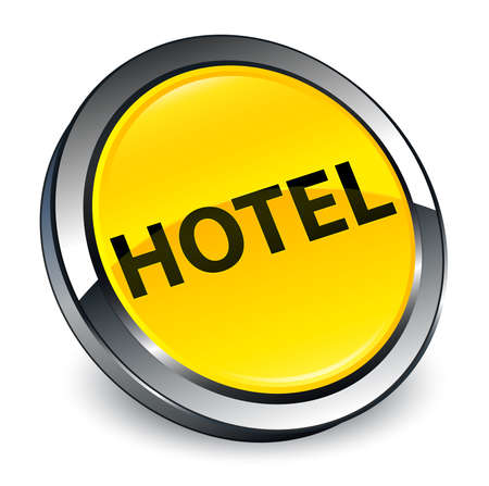 Hotel isolated on 3d yellow round button abstract illustration