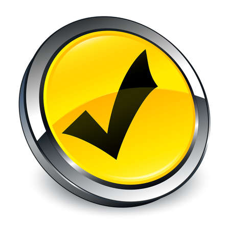 Validation icon isolated on 3d yellow round button abstract illustration Stock Photo