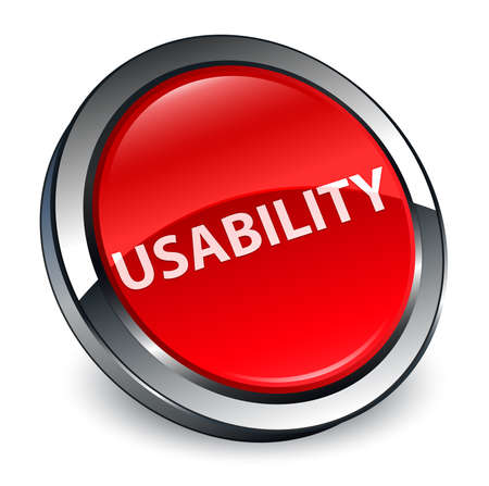 Usability isolated on 3d red round button abstract illustration Stock Photo