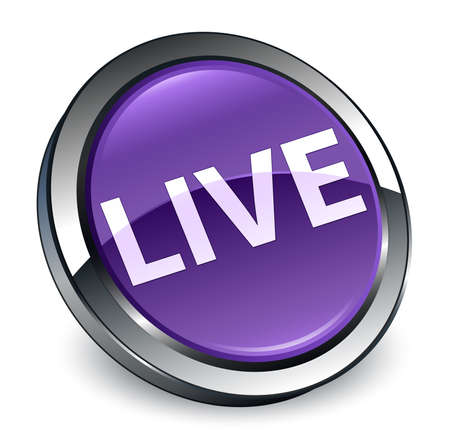 Live isolated on 3d purple round button abstract illustration