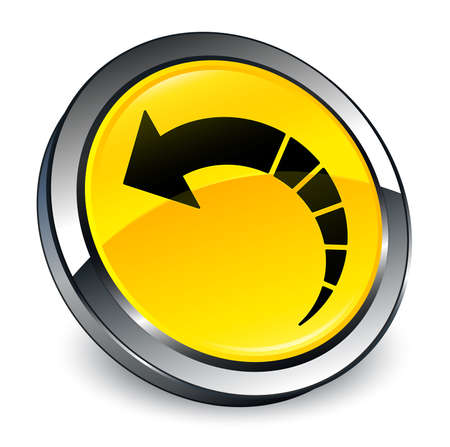 Back arrow icon isolated on 3d yellow round button abstract illustration