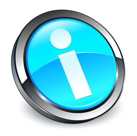 Info icon isolated on 3d cyan blue round button abstract illustration Stock Photo