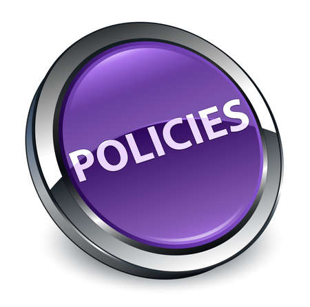 Policies isolated on 3d purple round button abstract illustration Banco de Imagens