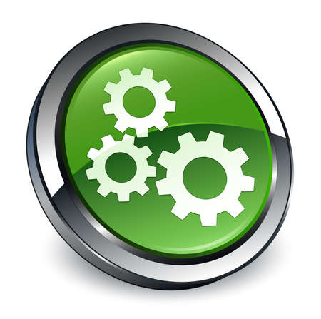 Gears icon isolated on 3d soft green round button abstract illustration