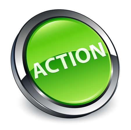 Action isolated on 3d green round button abstract illustration Фото со стока