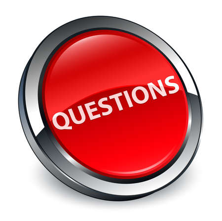 Questions isolated on 3d red round button abstract illustration Фото со стока