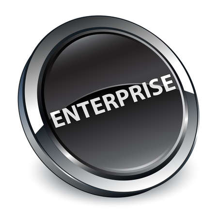 Enterprise isolated on 3d black round button abstract illustration