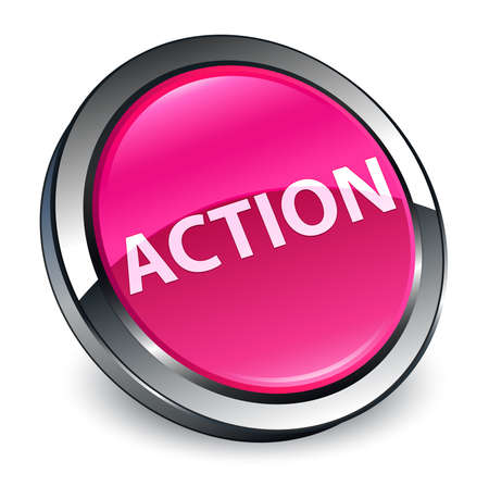 Action isolated on 3d pink round button abstract illustration Фото со стока - 100504069