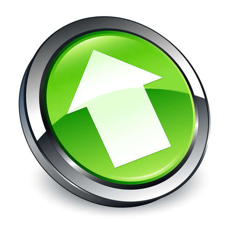 Upload arrow icon isolated on 3d green round button abstract illustration