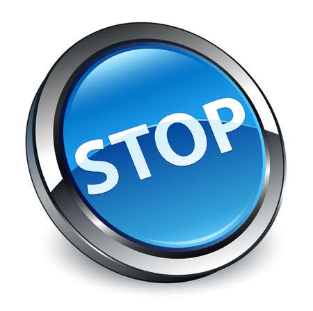 Stop isolated on 3d blue round button abstract illustration Stock Photo