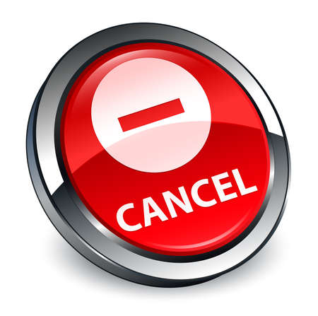 Cancel isolated on 3d red round button abstract illustration