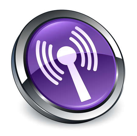 network icon isolated on 3d purple round button abstract illustration
