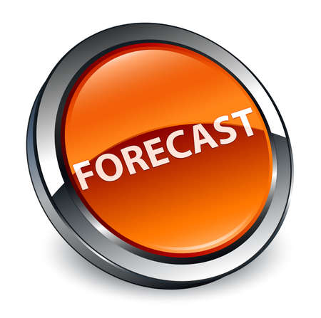 Forecast isolated on 3d brown round button abstract illustration Banco de Imagens