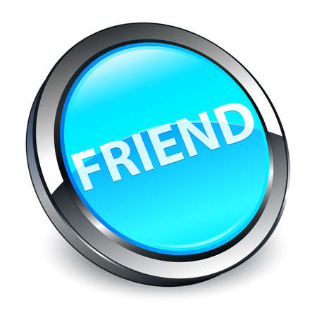 Friend isolated on 3d cyan blue round button abstract illustration Reklamní fotografie