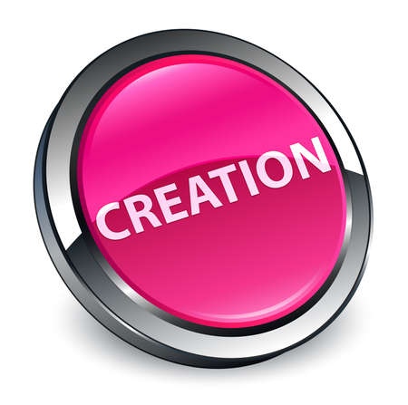 Creation isolated on 3d pink round button abstract illustration