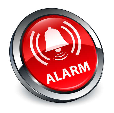 Alarm (bell icon) isolated on 3d red round button abstract illustration Stock Photo