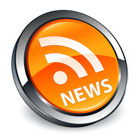 News (RSS icon) isolated on 3d orange round button abstract illustration