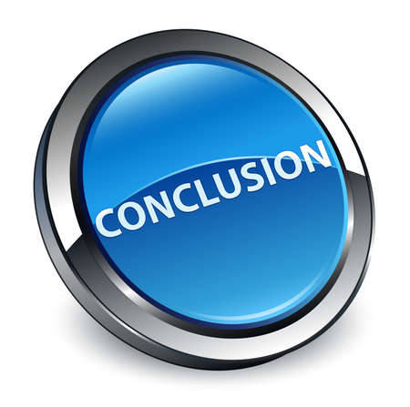 Conclusion isolated on 3d blue round button abstract illustration