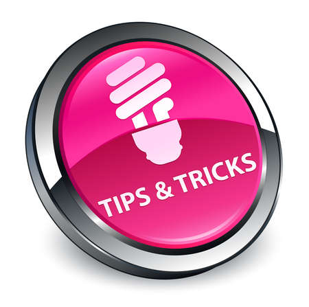 Tips and tricks (bulb icon) isolated on 3d pink round button abstract illustration Stock Photo