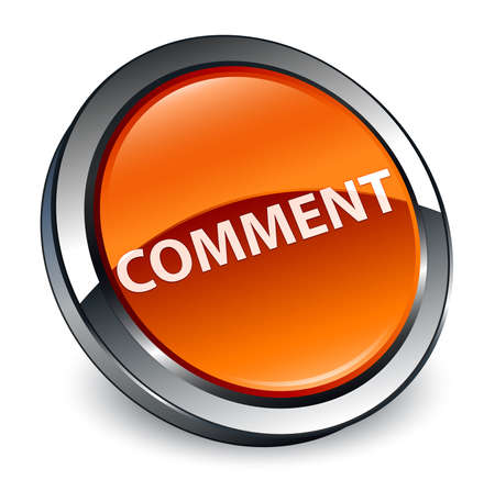 Comment isolated on 3d brown round button abstract illustration