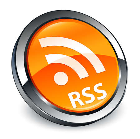 RSS isolated on 3d orange round button abstract illustration
