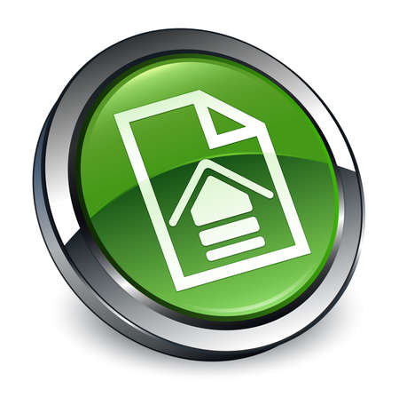 Upload document icon isolated on 3d soft green round button abstract illustration