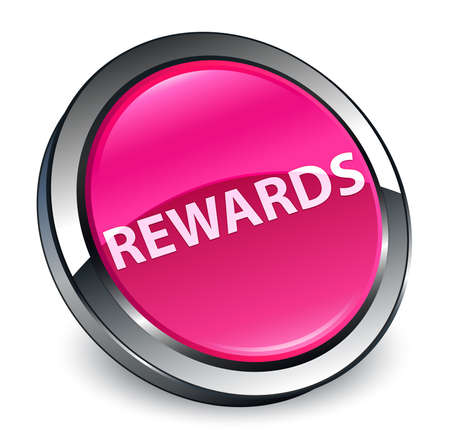 Rewards isolated on 3d pink round button abstract illustration
