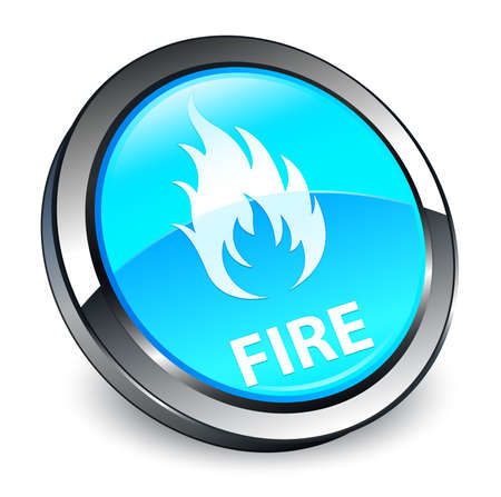 Fire isolated on 3d cyan blue round button abstract illustration Stock Photo