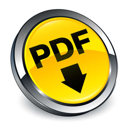 PDF download icon isolated on 3d yellow round button abstract illustration