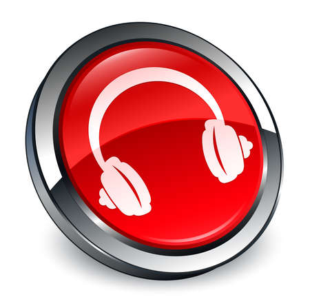 Headphone icon isolated on 3d red round button abstract illustration Stock Photo