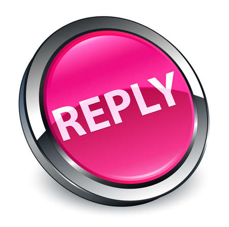 Reply isolated on 3d pink round button abstract illustration