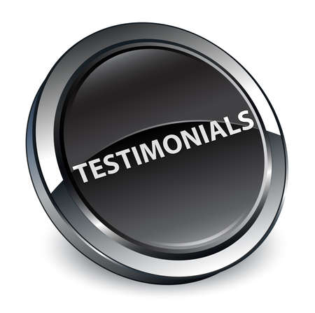 Testimonials isolated on 3d black round button abstract illustration