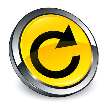 Reply rotate icon isolated on 3d yellow round button abstract illustration Stock Photo