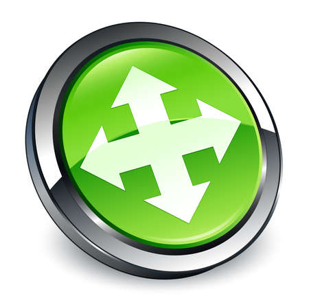 Move icon isolated on 3d green round button abstract illustration