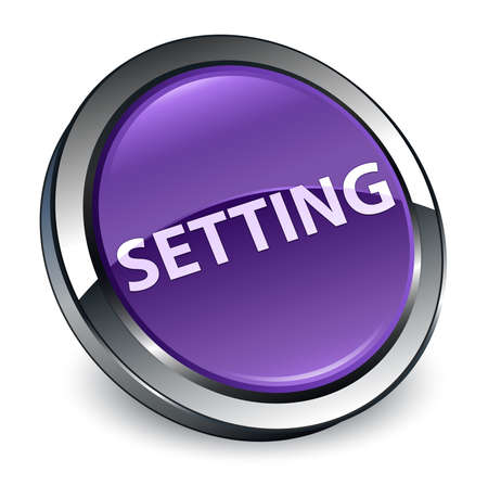 Setting isolated on 3d purple round button abstract illustration