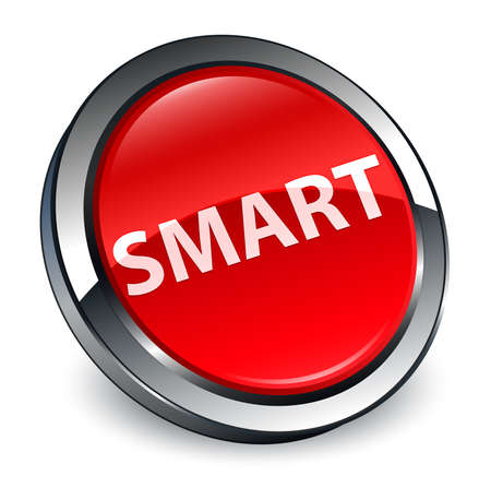 Smart isolated on 3d red round button abstract illustration