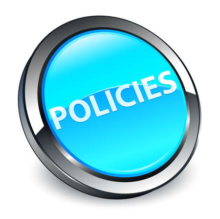 Policies isolated on 3d cyan blue round button abstract illustration