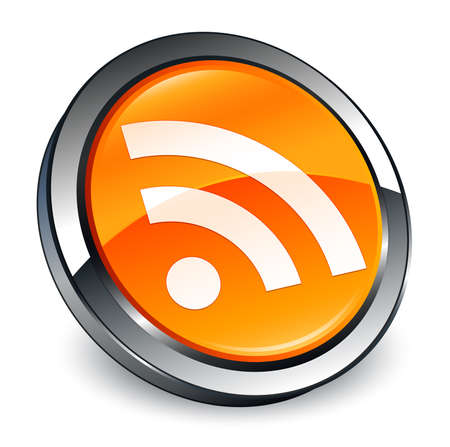 RSS icon isolated on 3d orange round button abstract illustration Stock Photo