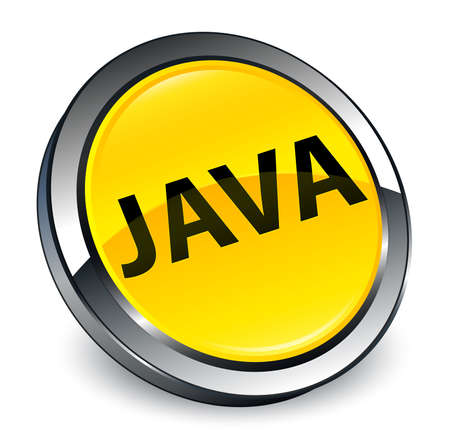 Java isolated on 3d yellow round button abstract illustration 写真素材