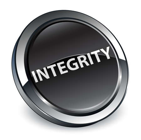 Integrity isolated on 3d black round button abstract illustration