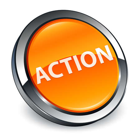 Action isolated on 3d orange round button abstract illustration Фото со стока