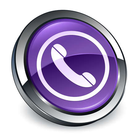 Phone icon isolated on 3d purple round button abstract illustration Foto de archivo