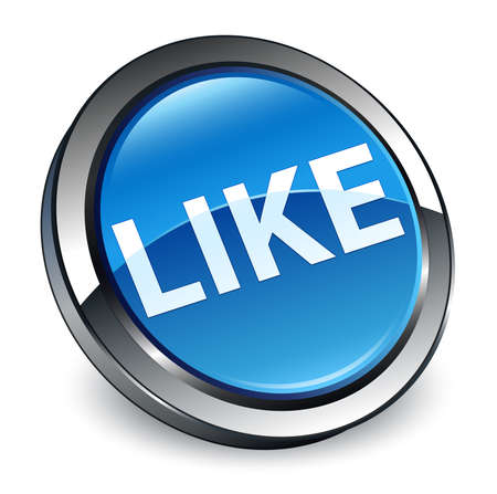 Like isolated on 3d blue round button abstract illustration Stock Photo
