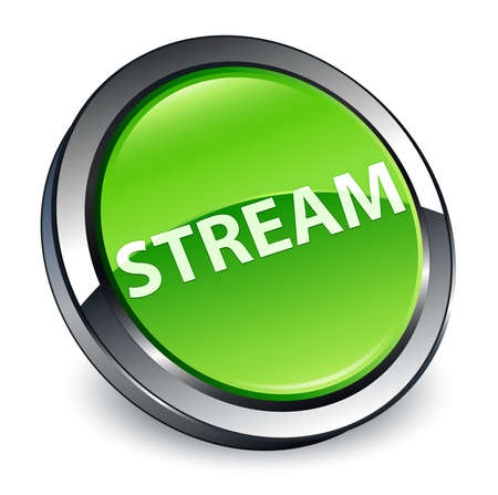 Stream isolated on 3d green round button abstract illustration