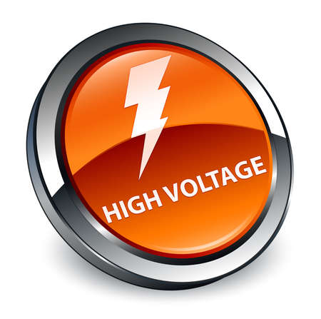 High voltage (electricity icon) isolated on 3d brown round button abstract illustration